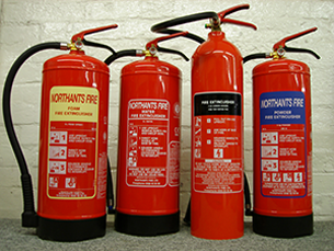 4 different fire extinguishers