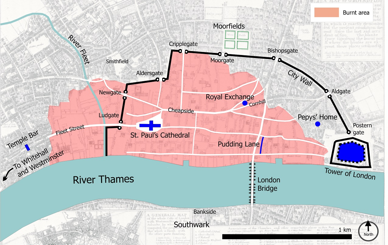map of fire damage on london