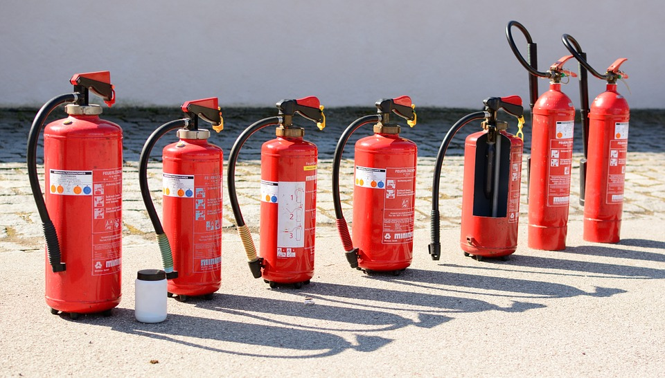 Fire extinguishers lined up