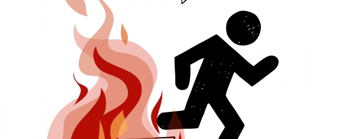 Fire evacuation vector sign. Pictogram of man and realistic flame.