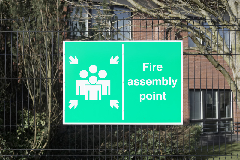 green sign, fire assembly point