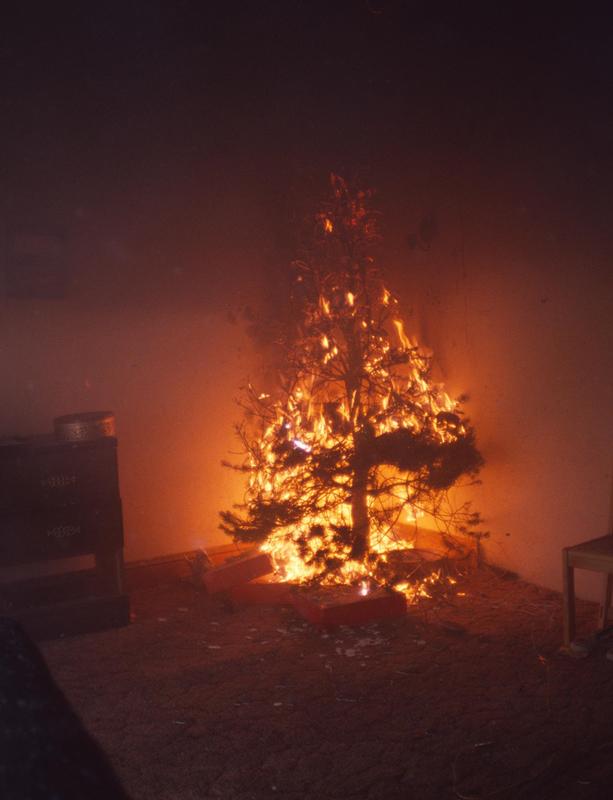 A Christmas tree on fire